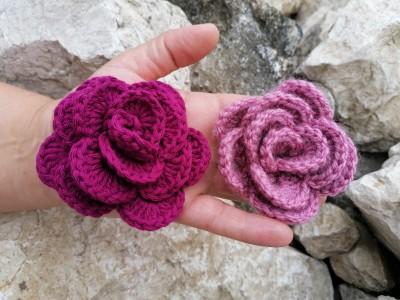 3D Rózsa, ingyenes virág minta horgoláshoz